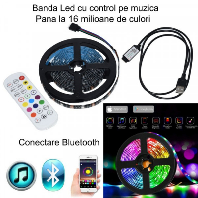 Banda LED RGB 5050 3m Kit TV la USB cu Bluetooth Telecomanda IP65 BL6