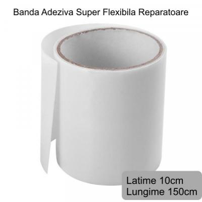 Banda Super Adeziva Reparatii Flex Tape Alba Mata 10x150cm 10150A