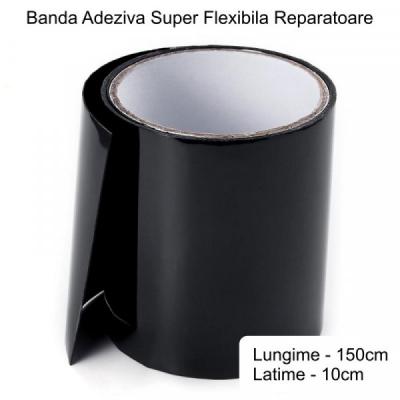Banda Super Adeziva Reparatii Flex Tape Neagra 10x150cm 10150N