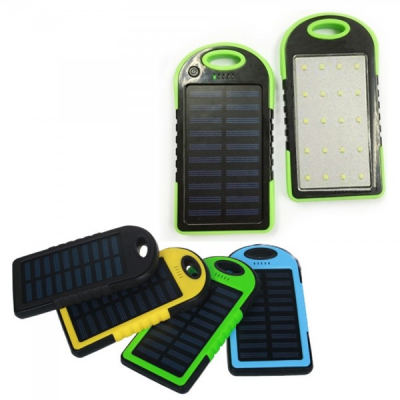 Baterie Externa Power Bank Solar 4000mAh cu Lanterna 20LED si USB