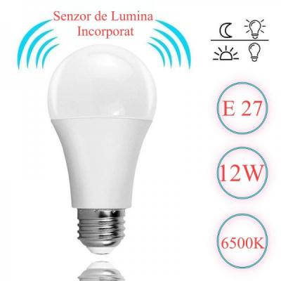 Bec cu LED si Senzor de Lumina E27 12W Alb Rece 6500K E27S12W