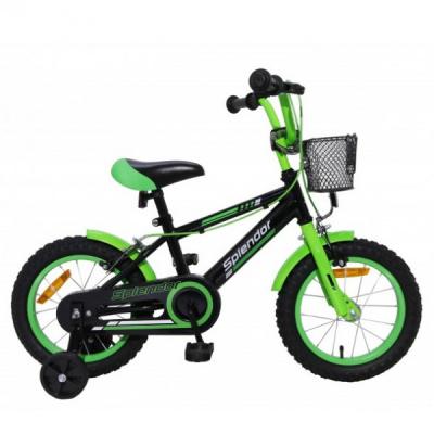 Bicicleta pentru Copii 14 Inch Splendor Negru cu Verde SPL14N
