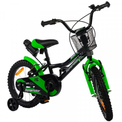 Bicicleta pentru Copii 14 Inch Splendor Negru cu Verde SPL14N-PRO