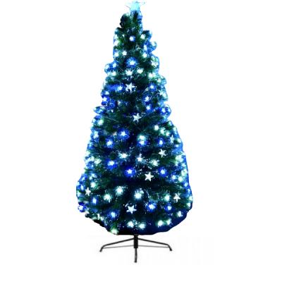 Brad Artificial Craciun Fibra Colorata, LEDuri Stele Alb Albastre 150cm
