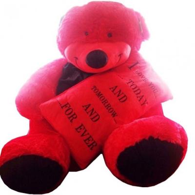 Cadou Indragostiti Urs de Plus Rosu 100cm cu Mesaj