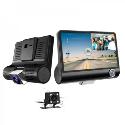 "Camera Auto Tripla Blackbox Full HD, 3 Camere Ecran 4"" G-Senzor"