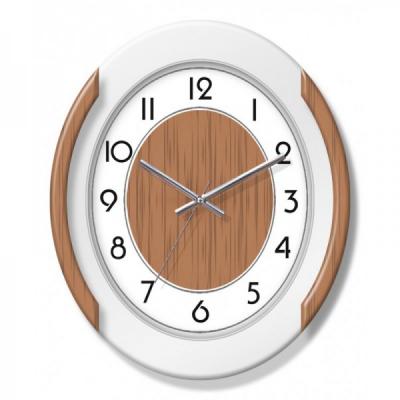 Ceas de perete Oval cu insertii aspect Lemn KLJ7219