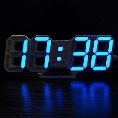 Ceas Digital de Birou Afisaj Data, Ora si Temperatura DS6609 Albastru