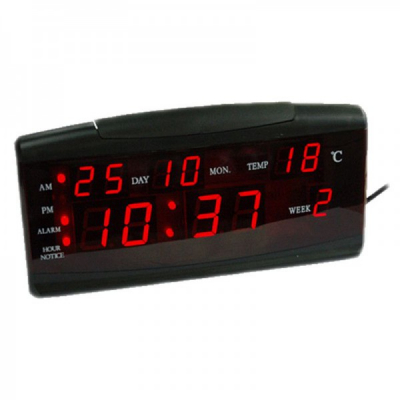 Ceas Digital Display LCD Rosu Afisare Data Temperatura 19x7.5cm ZXTL13A