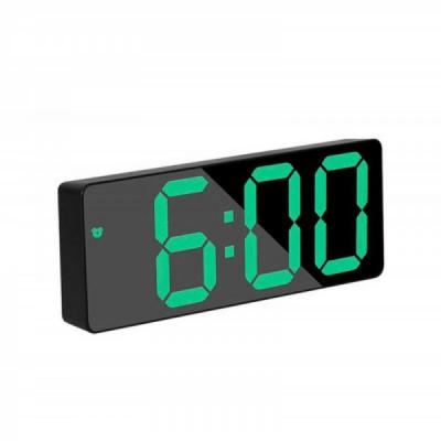 Ceas Digital Plastic Negru tip Oglinda la USB Lumina LED GH0712N Verde