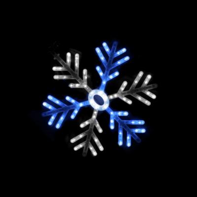 Decoratiune Luminoasa de Craciun Fulg de Nea 55cm LED Alb Albastru TO