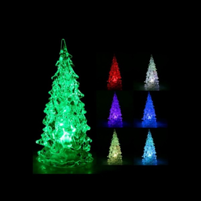 Decoratiuni Craciun Bradut Luminos LED Multicolor Acril 10cm