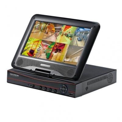DVR 8 Canale CCTV cu LAN si Monitor LCD 10 Inch pentru 8 Camere Video