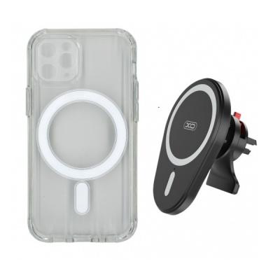Incarcator Auto Wireless 15W cu Husa Magnetica pentru iPhone 12 Pro