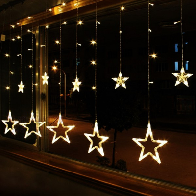 Instalatie Ghirlanda 12Stele Decoratiuni Luminoase Alb Cald  3x1m P