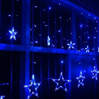 Instalatie Ghirlanda Perdea Luminoasa 12 Stele LED Albastre 3x1m P