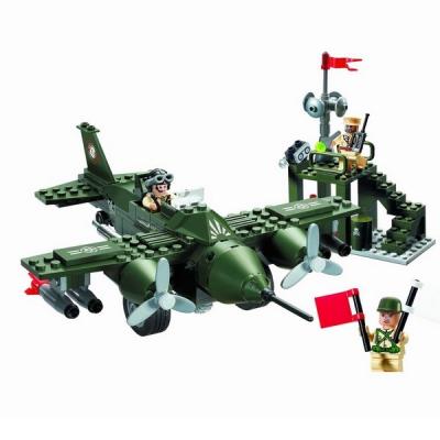 Joc tip Lego Avion Militar Enlighten 810 cu 225 Piese