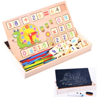 Jucarie Educativa Copii din Lemn Invatare Matematica Tabla 2in1 KXM880