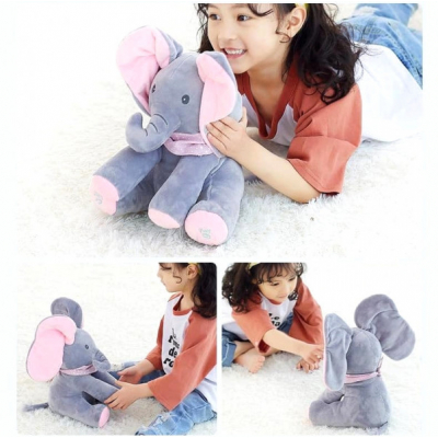 Jucarie Elefant Interactiv Plus 26cm Pick A Boo Cucu-Bau Roz