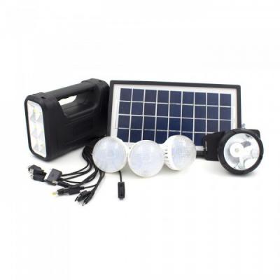 Kit cu Panou Solar si USB, Lanterna Frontala si Lampi, Acumulator 6V 4Ah GD8007