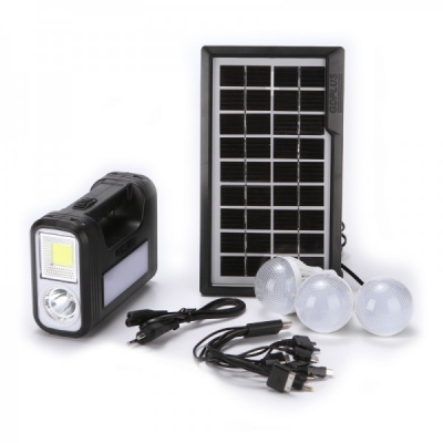 Kit Panou Solar Lanterna LED USB 3 Becuri, 6V 4Ah COB GdPlus GD8017