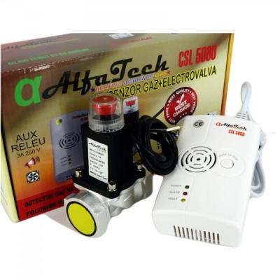 Kit Senzor Detector  Gaz cu Electrovalva AlfaTech CSL5000 3/4