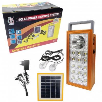 Kit Solar Lampa 1+15LED SMD, USB, 2 Becuri, 4V 2.5Ah BB9118