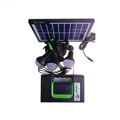 Kit Solar Lanterna LED U cu Radio FM USB MP3 3 Becuri 6V GDLITE 10