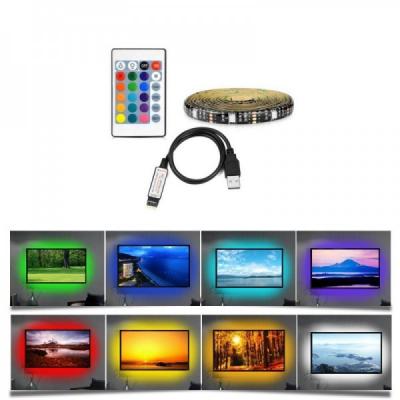 Kit TV Banda 2m 60 LED RGB 5050 IP65 Alimentare USB, cu Telecomanda