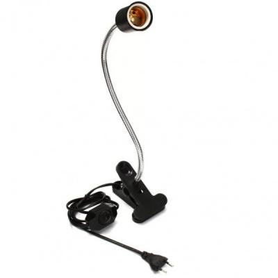 Lampa cu Brat Flexibil 35cm E27 Alim. 220V 160cm Clips, On/Off Neagra