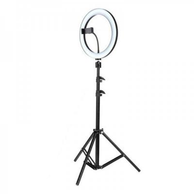 Lampa Vlogger Circulara Neon 3 Nuante Alb 96LED 10Inch Trepied