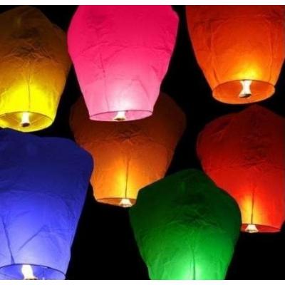 Set 10 Lampioane Zburatoare Hartie Colorata