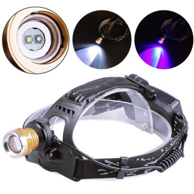 Lanterna Frontala 3W 2LED Alb Albastru Zoom 2x18650 12V 220V T621