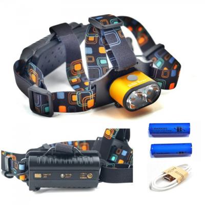 Lanterna Frontala 3W 2xLED cu Acumulatori 18650 Incarcare USB BLK28T6