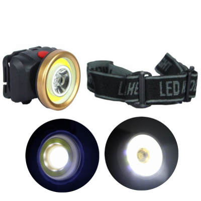 Lanterna Frontala LED 1W si COB LED 1W pe Baterii AS0507