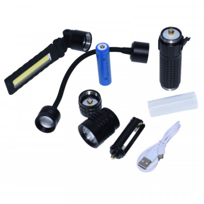 Lanterna Kit 3in1 cu Lampa LED si Acumulator USB LNTKIT31