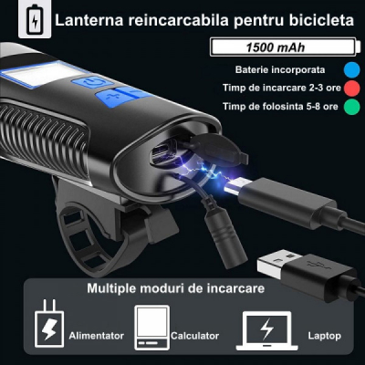 Lanterna Multifunctionala Bicicleta la USB, ODO AVS DST TM MXS FY317