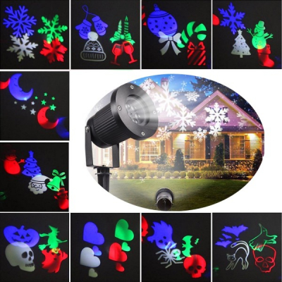 Laser Gradina Exterior Slideshow cu 10 Diapozitive Tematice RGB W551