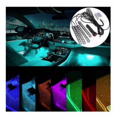 Lumini Ambientale Interior Auto 4x9LED 8 culori Telecomanda Alim 12V
