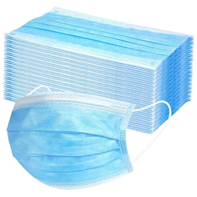 Masca Acoperitoare Protectie Faciala 3 straturi, 3 Pliuri SET 50 BUCATI