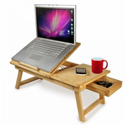 Masuta Laptop din Bambus Pliabila cu Sertar, Suport Pahare si Coolere