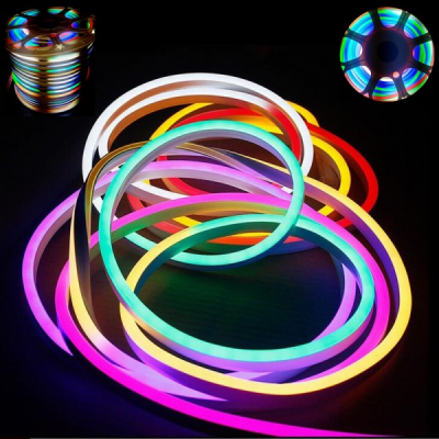 Neon Flex Furtun Luminos Flexibil Rola 100m Multicolor 2Fete 1.5cm