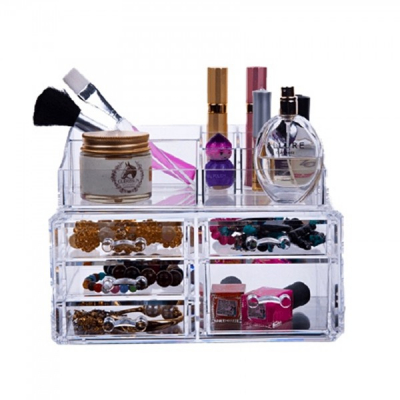 Organizator cosmetice din acril 5 sertare si 16 compartimente
