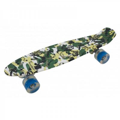 Penny Board cu Roti Silicon 55x15cm SB2406 JU Camuflaj Verde