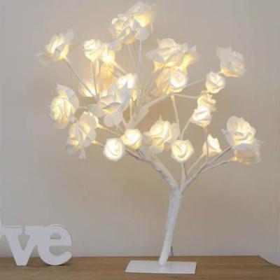 Pomisor Decorativ Luminos 30cm 24LED Trandafir Alb Cald TO1903