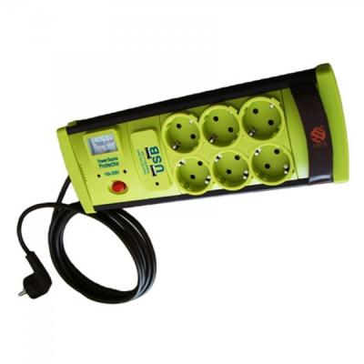 Prelungitor cu Protectie 6 Prize si USB, Cablu 5m, 3x1mm Vipex