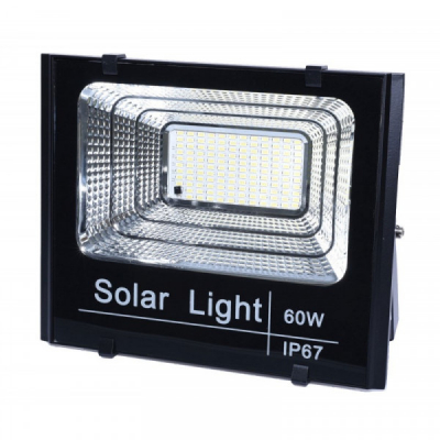 Proiector 60W LED Alb Rece cu Panou Solar Telecomanda IP67 LED60WSOL
