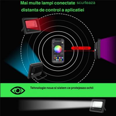 Proiector Smart LED RGBCW 40W 220V IP66 cu Bluetooth SMRGBCW40W