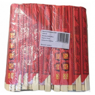 Set 100 Betisoare Bambus Servire Sushi, Mancare Asiatica Rosu