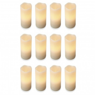 Set 12 Lumanari Ceara Electrice LED Flacara Mobila care Palpaie 12x7.5cm